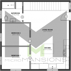 Dunn Upper Level Floor Plan by microMansions